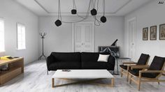 Decorating, Black Velvet Fabric Sofa With Black Aluminum Legs And White Silky Satin Pillow Black Fabric Cushion Furnished Brown Wood Legs And Base Chairs White Wood Low And Long Coffee Table With Wood Legs And Base: Scandinavian Living Room Ideas