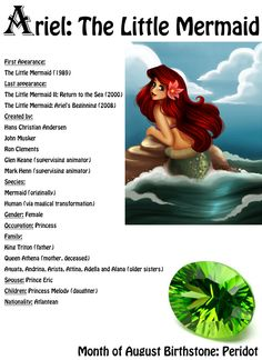 Ariel: The Little Mermaid Fairy Tale Magazine: August 2014 Edition Ariel #ariel #littlemermaid #fairytalemagazine #arielfacts #bio #forgirls