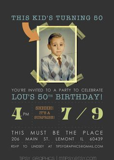 invitation idea for Dad's 60th - printable featuring him as a boy