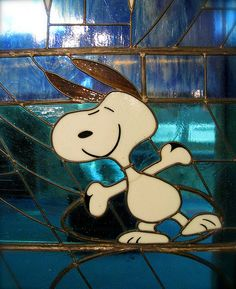 Snoopy~ stained glass at the Warm Puppy Cafe, Santa Rosa, CA