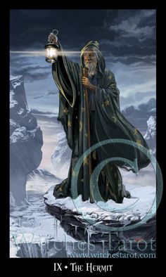 """The Major Arcana card """"The Hermit"""" is associated with the birth sign Virgo. From Witches Tarot by Ellen Dugan & Mark Evans. www.witchestarot.com"""