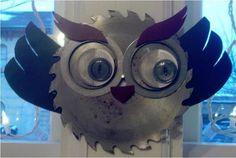 Upcycled owls made by Jessica Olszewski of West Allis.