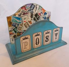 Blue Post Box Letter Rack