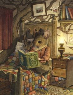 'Bedtime Story' by Chris Dunn Illustration. This reminds me of the artwork in the bedtime stories that were read to me as a little girl. Beatrix Potter, Chris Dunn, Art Fantaisiste, Bedtime Stories, Children's Book Illustration, Book Illustrations, Whimsical Art, Illustrators, Fantasy Art