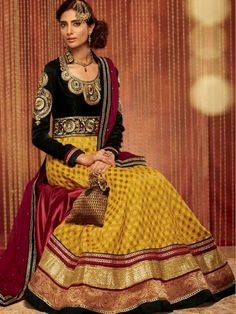 Fabric - GeorgetteDupatta - ChiffonColor - Yellow & BlackWork - Resham Thread Embroidery Occasion -Casual, Partywear ,Wedding. Form - Semi Stich Colours May Slightly Vary Or May Not, From What You See On Your Monitor With The Actual Piece. This May Be Because Of Monitor Resolution Or Picture Tube Variances. The Image Shown Is Shot From The Master Piece And We Always Ensure We Send You The Exact Shown Coloured Product With The Same Workmanship And Prints. Products With Dyeing Work May