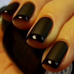 black French Manicure nails (flat black with shiny black tips)