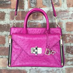 """DVF Secret Agent Tote with Zip Off Clutch Sample sale purchase. Great color!  Embossed ostrich leather. Worn only a few times. Crossbody strap. Interior zip and slide pockets. Great capacity for main tote and then front turn lock flap pocket zips off to double as a clutch.  10.5"""" wide. 8"""" tall. 4.5"""" at gusset. 3.5"""" handle drop. 21"""" crossbody strap drop at shortest - can go longer. Diane von Furstenberg Bags Crossbody Bags"""