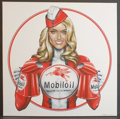 Mobiloil Sales Girl Canvas Acrylic Painting - Silverstone Auctions