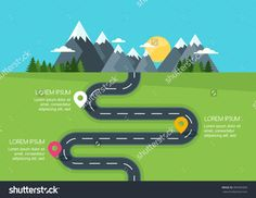 Road With Markers, Vector Infographics Template. Winding Road In Green Field And…