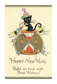 New Years vintage card with black cat