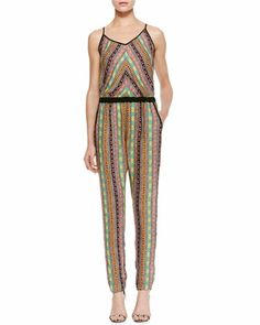 Printed Silk Racerback Jumpsuit by Milly for semi casual dinner with Givenchy jelly sandals
