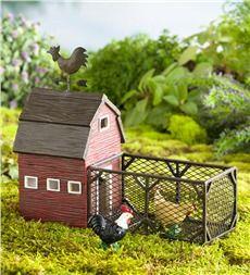 Miniature Fairy Garden Chicken Coop with Three Chickens