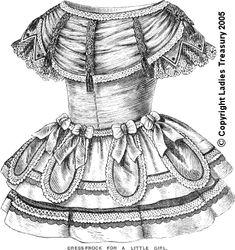 Period Pattern: Pattern Draft for Little Girl's Dress-Frock October 1856 civil war era fashion