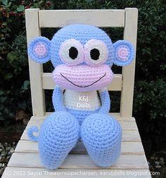 Ravelry: Huggy Monkey Amigurumi Crochet Pattern pattern by Sayjai Thawornsupacharoen