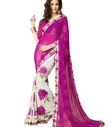 Buy Pink printed georgette saree With Blouse printed-saree online