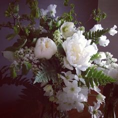 Laura Hingston Flowers... White and green wedding flowers. Peonies, lily of the valley, hellebores and ferns....