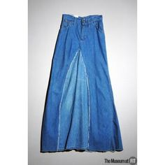 This is an example of a maxi skirt from 1970 by Terry Melville. Maxi skirts were very popular in the 1970s, especially with the hippie subcultures. This skirt is made of denim, which was becoming more and more popular for everyday wear.