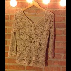 ✨Light Brown Knit Long Sleeve✨ There is a tank top attached to it underneath. Croft & Barrow Sweaters