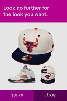 0a13e07a1a3 New Era Chicago Bulls Snapback Hat Match Air Jordan Retro 5 Sail Blue  Orange Cap