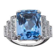 View this item and discover similar for sale at - Claw-set with a glacier-blue, emerald-cut aquamarine weighing cts, within a step set brilliant-cut diamond shoulders, mounted in white gold. Jewelry Rings, Fine Jewelry, Jewlery, Vintage Style Rings, Aquamarine Jewelry, Art Deco Ring, Diamond Are A Girls Best Friend, Colored Diamonds, Fashion Rings