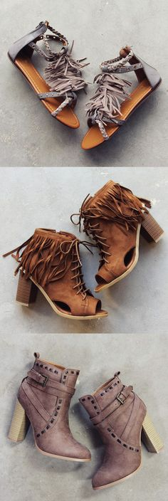Must-have booties & sandals are here! Shop boho fringe boots, sandals, & booties. Perfect to pair with rompers & dresses. www.spool72.com