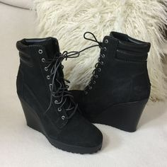 """Timberland Like New black leather wedge boots Timberland Like New black leather wedge lace up boots.  Padded ankle design with a beautiful 4"""" wedge heel.  Worn once for a few hours and in excellent condition. 9.25"""" long insole for reference. Boot measures 9"""" tall including heel. Timberland Shoes Ankle Boots & Booties"""