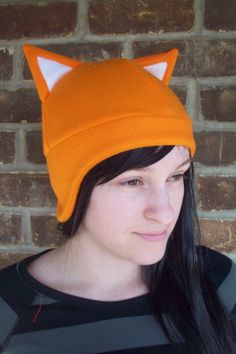 f4f3a72823a Items similar to Orange or Red Fox Hat (Short Ear Flap) - Adult   Baby  Sizes - Costume