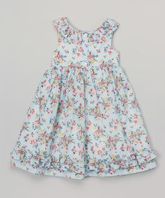 Look what I found on #zulily! Laura Ashley London Blue & Pink Floral Ruffle A-Line Dress - Infant, Toddler & Girls by Laura Ashley London #zulilyfinds