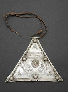 Africa | Pectoral from the Tuareg people of Algeria | silver | ca. 1971