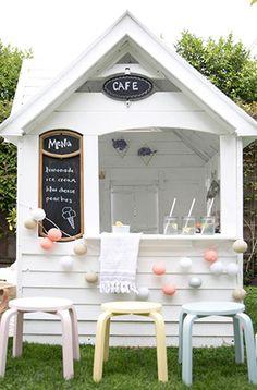 designer melissa barling revamps costco playhouse into cafe for kids Costco Playhouse, Build A Playhouse, Playhouse Outdoor, Playhouse Ideas, Playhouse Decor, Playhouse Interior, Childs Playhouse, Painted Playhouse, Playhouse Windows