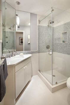 Small master bath makeover - small shower footprint but doesn't appear as cave like as current shower