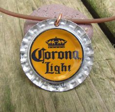 upcycled beer bottle cap necklace  corona light by mrozspoon, $10.00