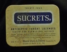 #Vintage Sharp & Dohme USA Blue Sucrets Antiseptic Throat Lozenges Tin Merck & Co, Throat Lozenge, Recipe Box, Tin, Honey, Memories, Google Search, Vintage