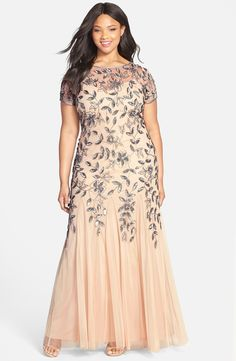 Adrianna Papell Floral Beaded Godet Gown (Plus Size)