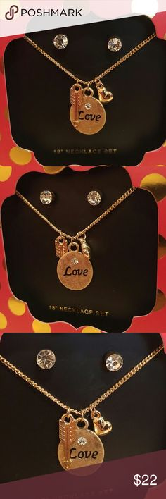 """NWT GOLD CHARM NECKLACE & EARRING SET Simple, yet chic!  Set comes with 18"""" gold plated necklace w/ love, heart, and arrow charms plus Sparkling rhinestone earring studs! Makes for a perfect gift! Comes in a red, black & gold holiday theme gift box! Jewelry Necklaces"""