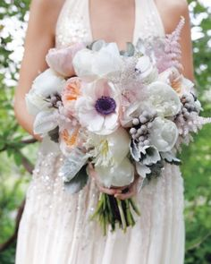 This dreamy clutch of anemones, astilbe, Juliet garden roses, peonies, succulents, brunia, and dusty miller in watercolor- possible centerpieces