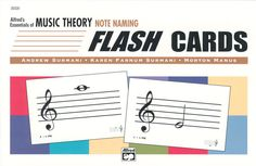 """MUSIC THEORY NOTE NAMING FLASHCARDS - Designed to enhance Alfred's Essentials of Music Theory curriculum, each set has 48 two-sided cards, organized into four progressive groups. Includes suggested activities & games.  The Note Naming Flashcards contain 96 notes and rests in the treble and bass clefs. May be used to supplement any beginning music theory course. 8.5"""" x 5.5"""" ."""