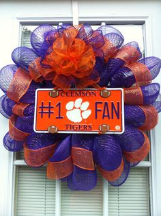 Clemson Tigers Number 1 Fan Mesh Wreath. $37.00, via Etsy.