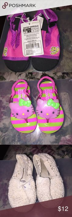 3 pairs of size 5 girls shoes and sandals 1 pair river or pool shoes NWT, 1 pair Hello Kitty sandals they are a hard plastic and one pair egg shell color air walks (Toms Style) slip in shoes Shoes Sandals & Flip Flops