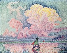The Pink Cloud, Oil on canvas. Le Nuage Rose, Antibes Paul Signac One of my fav! Georges Seurat, Antibes, Paul Signac, Art Français, Pink Clouds, Art Moderne, Claude Monet, French Art, Oeuvre D'art