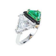 Nikos Koulis Oui_White gold diamond and emerald ring with black enamel