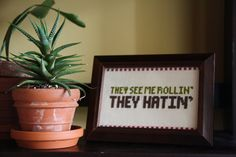 Cross stitch They see me rollin' they hatin' by RagingStitch, $25.00