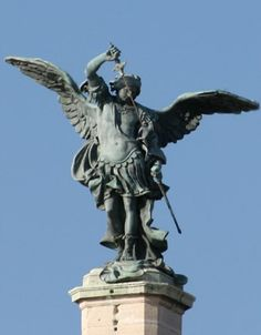 The statue representing The Archangel Sint Michael and situated on top of the Castel San'Angelo in Roma. This statue was made by Peter Anton von Verschaffelt (Flemish artist, 1710–1793).