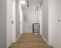 Aranżacje wnętrz - Schody: Biało szary przedpokój - Małe średnie wąskie schody dwubiegowe zabiegowe drewniane, styl skandynawski - OES architekci. Przeglądaj, dodawaj i zapisuj najlepsze zdjęcia, pomysły i inspiracje designerskie. W bazie mamy już prawie milion fotografii! Mirror, Interior, Room, Furniture, Home Decor, Bedroom, Decoration Home, Indoor, Room Decor