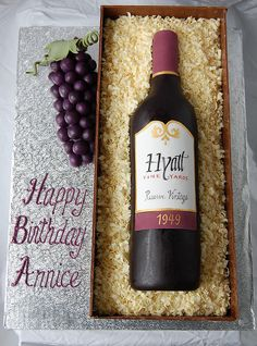 For a wine lover who just turned Chocolate cake, whipped dark chocolate raspberry ganache, white chocolate scrolls and faux-wood chocolate box. Birthday Cake For Him, Birthday Cakes For Men, Krispy Kreme, Wine Bottle Cake, Liquor Cake, Galaxy Cake, Champagne Cake, Cake Toppings, Top View
