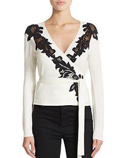 Diane von Furstenberg - Lace-Detail Ballerina Wrap Sweater