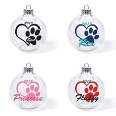 Paw Dog Doggie Puppy Custom Name Date Glass Ball Christmas Ornament Cute Pet Cat - Products - [post_tags Vinyl Ornaments, Dog Christmas Ornaments, Clear Ornaments, Christmas Dog, Homemade Christmas, Christmas Projects, Christmas Decorations, Glitter Ornaments, Handmade Ornaments