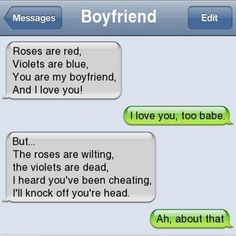Cheating Boyfriend Poems ouch O. Very Funny Texts, Funny Poems, Funny Texts Jokes, Funny Texts Crush, Text Jokes, Funny Text Fails, Cute Texts, Funny Text Messages, Text Message Fails