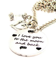 I Love You To The Moon And Back Necklace  with crystal beadwork Fast Free Ship on Etsy, $15.99