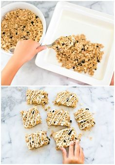 Easy No Bake Blueberry Almond Granola Bar Recipe. Easy for kids to make and a healthy breakfast or snack idea.